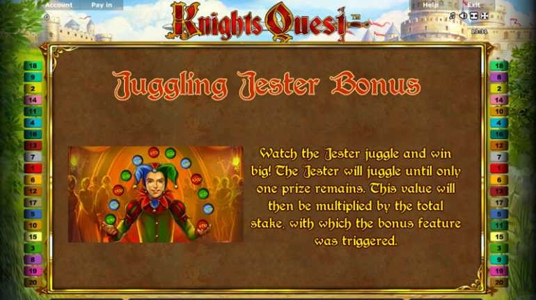 knights quest juggling jester bonus