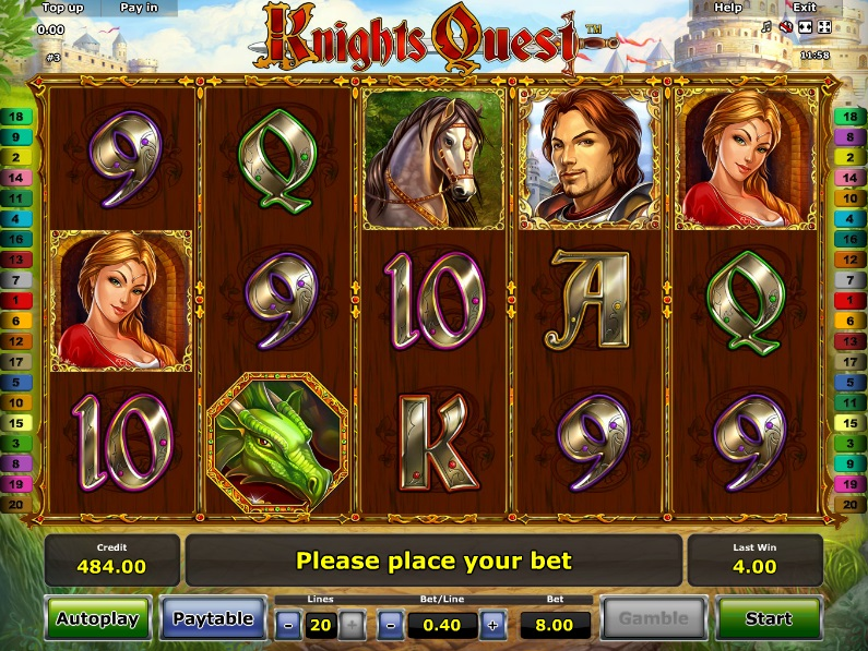 A look at the Knight's Quest Novomatic Online Slot Machine Game