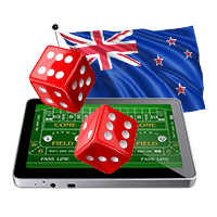 Craps online on tablet with New Zealand flag and dice